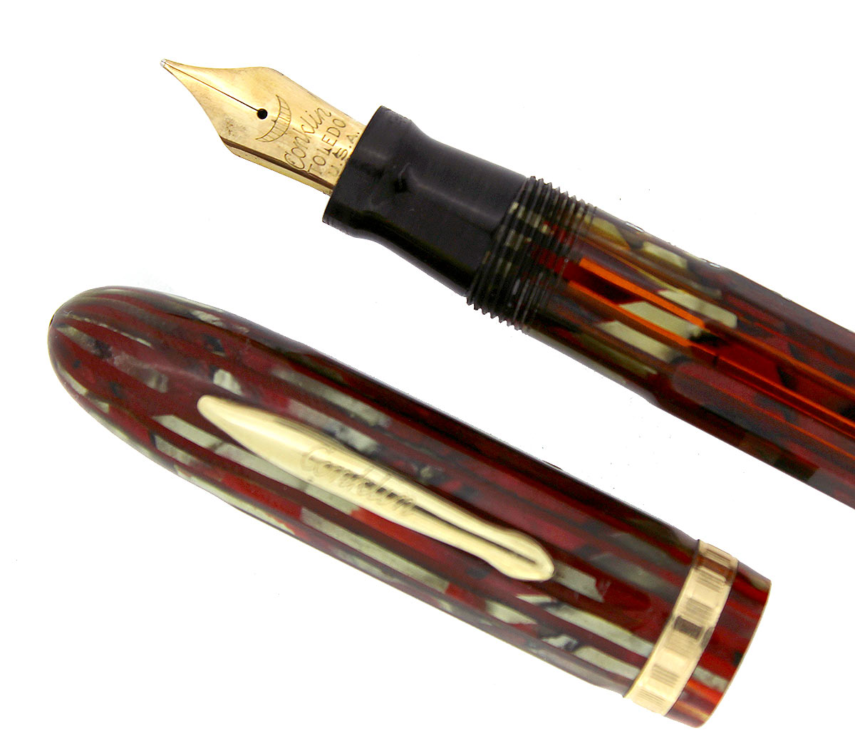 CIRCA 1935 CONKLIN NOZAC RED PEARL STRIPED 5M WORD GAUGE FOUNTAIN PEN RESTORED OFFERED BY ANTIQUE DIGGER