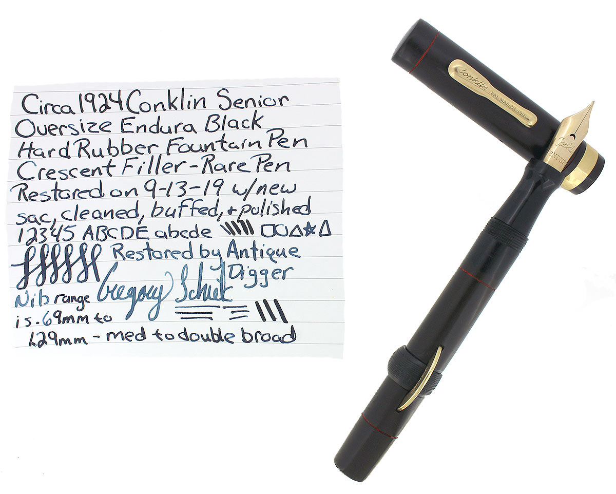 RARE 1924 CONKLIN ENDURA SENIOR LONG BLACK HR CRESCENT FILLER FOUNTAIN PEN RESTORED OFFERED BY ANTIQUE DIGGER