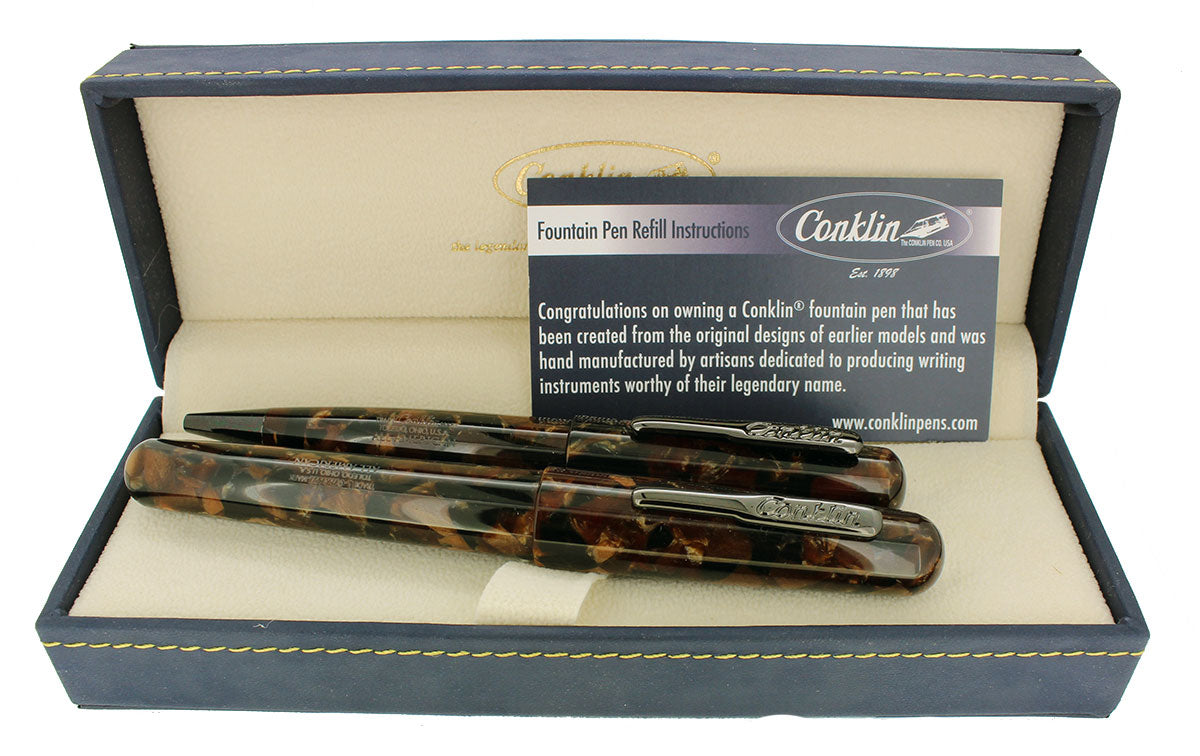 CONKLIN ALL BROWNSTONE FOUNTAIN PEN & BALLPOINT PEN NEVER INKED MINT NEW IN BOX OFFERED BY ANTIQUE DIGGER