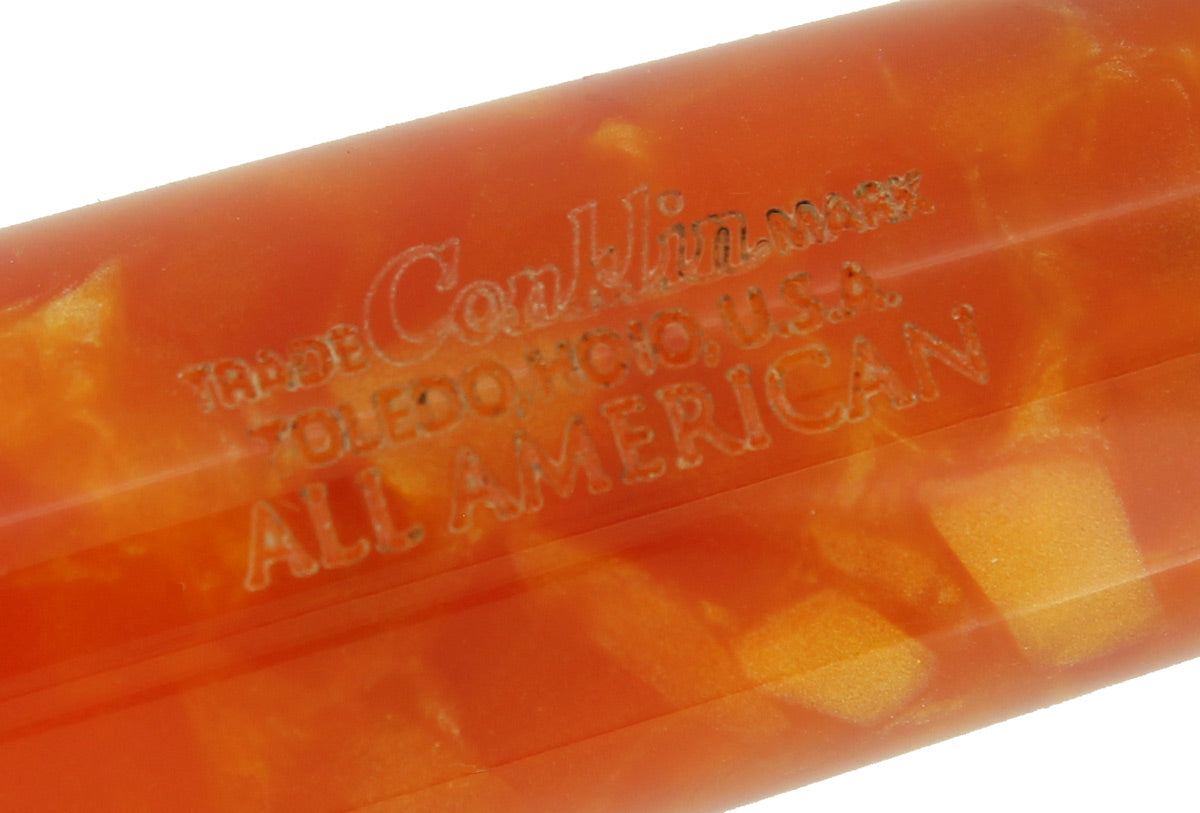 CONKLIN ALL AMERICAN SUNBURST ORANGE FOUNTAIN PEN MINT NEVER INKED IN BOX OFFERED BY ANTIQUE DIGGER