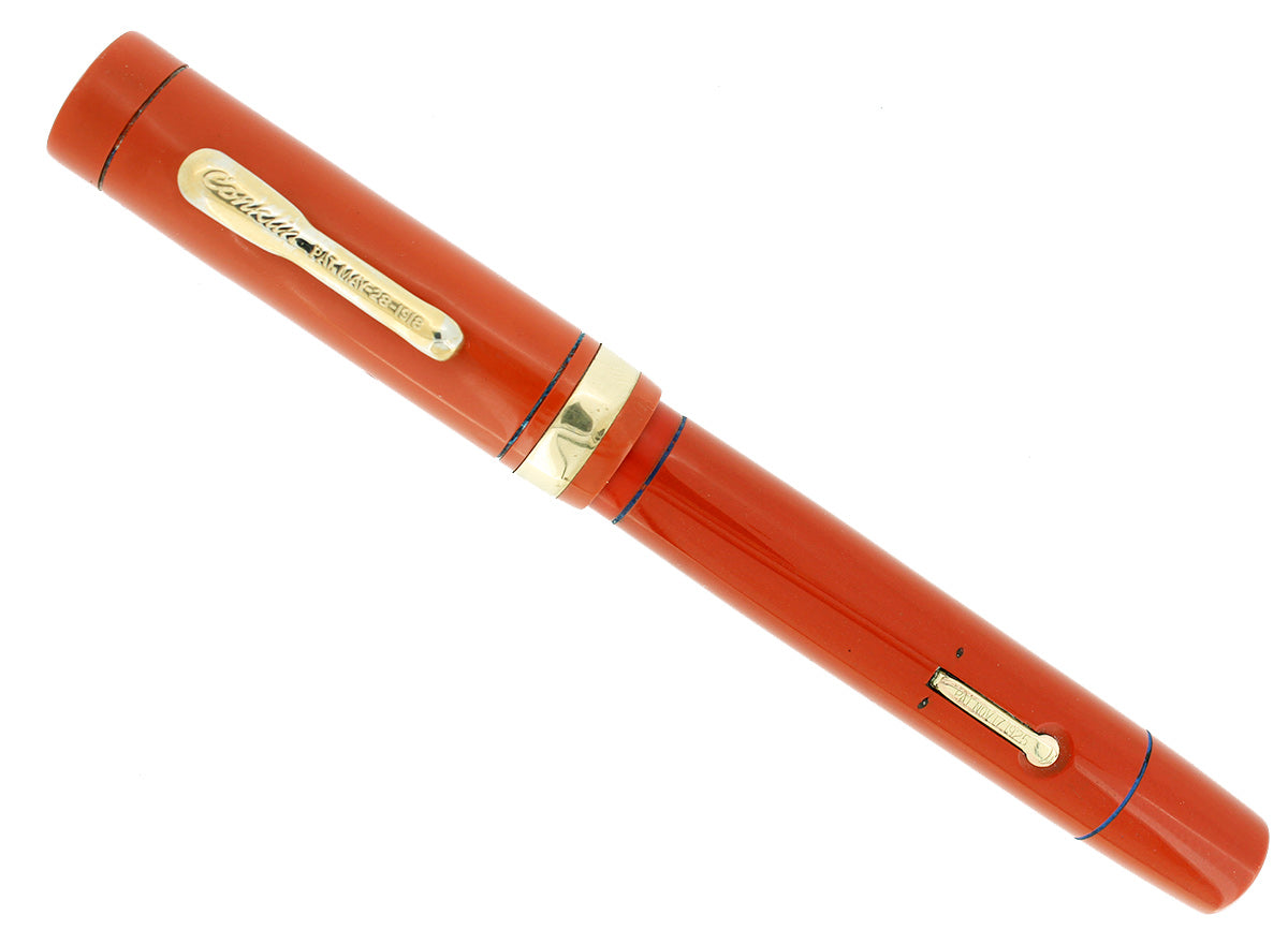C1925 CONKLIN SENIOR ENDURA RED HARD RUBBER FOUNTAIN PEN RESTORED OFFERED BY ANTIQUE DIGGER