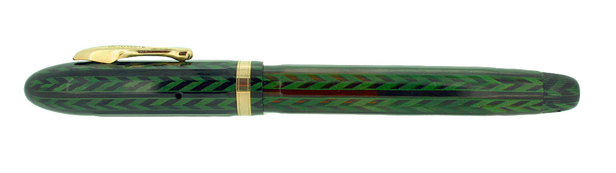 C1932 CONKLIN NOZAC EMERALD V-LINE HERRINGBONE 14 SIDED FOUNTAIN PEN RESTORED OFFERED BY ANTIQUE DIGGER