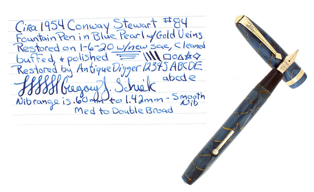 C1954 CONWAY STEWART #84 BLUE PEARL W/GOLD VEINS FOUNTAIN PEN RESTORED OFFERED BY ANTIQUE DIGGER
