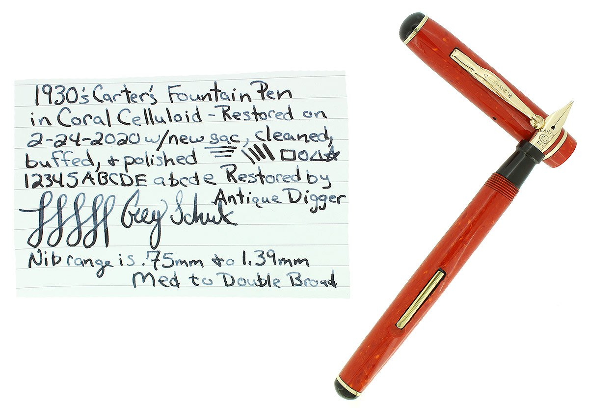 SCARCE CIRCA 1930 CARTER'S CORAL STREAMLINE FOUNTAIN PEN RESTORED OFFERED BY ANTIQUE DIGGER