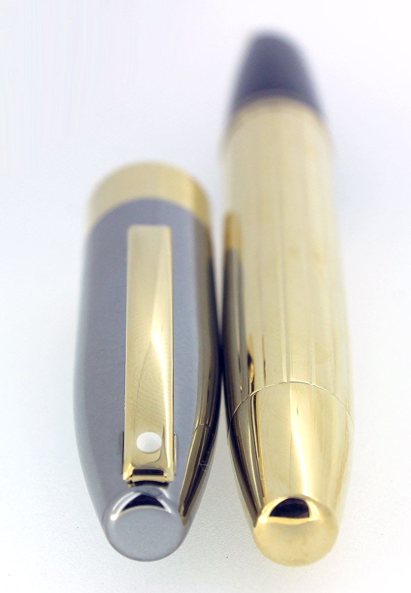 SHEAFFER LEGACY 2 GUNMETAL GRAY AND GOLD PLATE FOUNTAIN PEN 18K OBLIQUE FLEX STUB NIB CUSTOM ORDER MINT OFFERED BY ANTIQUE DIGGER