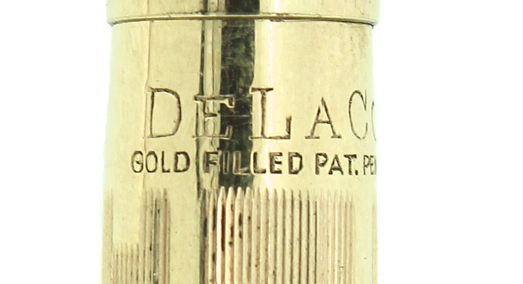 1920s DELACO DEWITT LAFRANCE GOLD FILLED LINE AND BOX PATTERN FOUNTAIN PEN RESTORED OFFERED BY ANTIQUE DIGGER