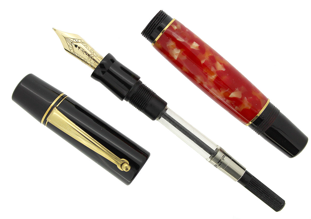 DELTA OLD NAPOLI PARTHENOPE FOUNTAIN PEN RED & BLACK 18K NIB MINT IN BOX NEW OLD STOCK OFFERED BY ANTIQUE DIGGER