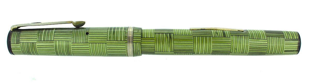 LATE 1930S EAGLE GREEN PARQUET PATTERN LEVER FILLER FOUNTAIN PEN RESTORED OFFERED BY ANTIQUE DIGGER