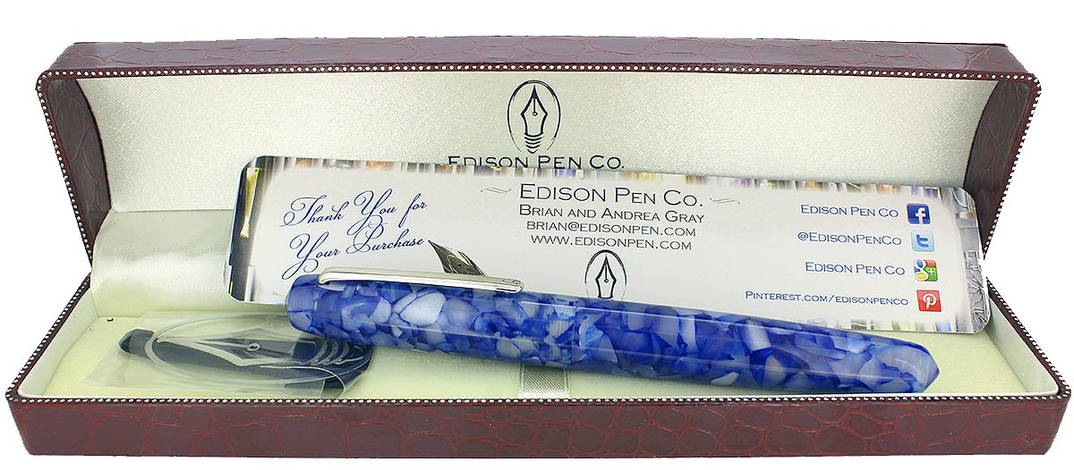 EDISON PEARL SIGNATURE SERIES OCEAN FLAKE FOUNTAIN PEN MINT NEVER INKED IN BOX OFFERED BY ANTIQUE DIGGER