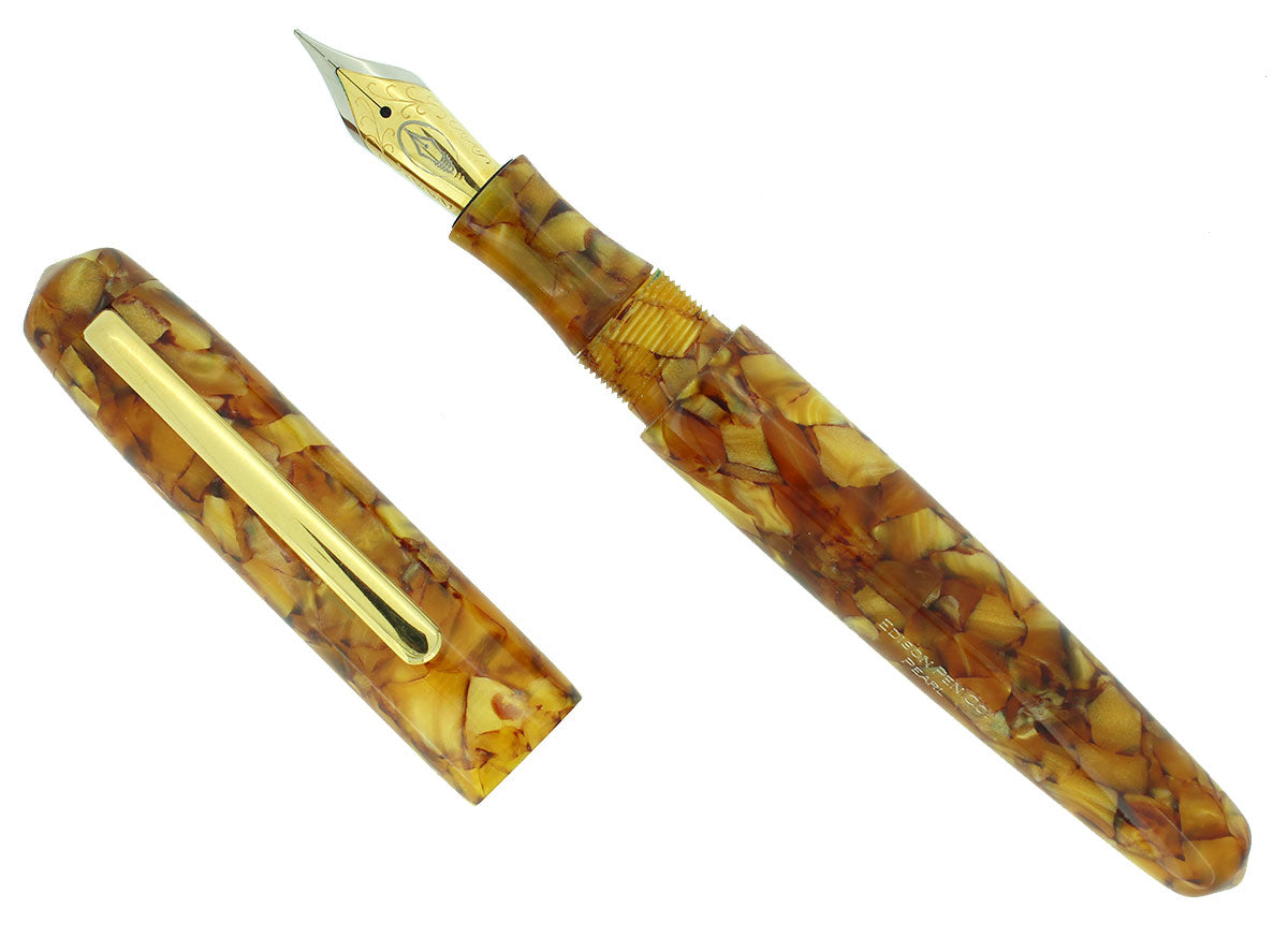 EDISON PEARL SIGNATURE SERIES GOLDEN FLAKE FOUNTAIN PEN MINT NEVER INKED IN BOX OFFERED BY ANTIQUE DIGGER