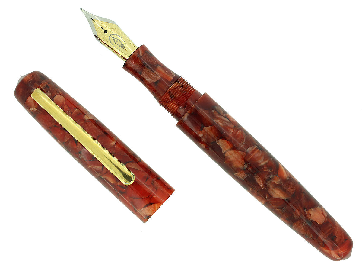 EDISON PEARL SIGNATURE SERIES CAPPUCCINO FLAKE FOUNTAIN PEN MINT NEVER INKED OFFERED BY ANTIQUE DIGGER