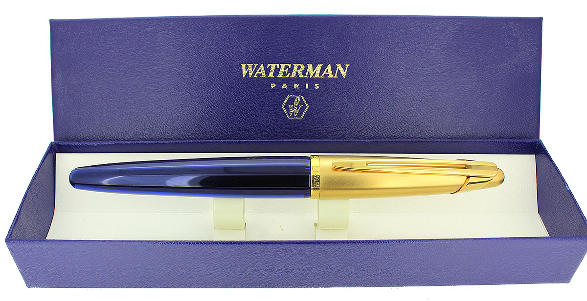 1990S WATERMAN EDSON SAPPHIRE BLUE FOUNTAIN PEN 18K MED NIB NEAR MINT CONDITION OFFERED BY ANTIQUE DIGGER