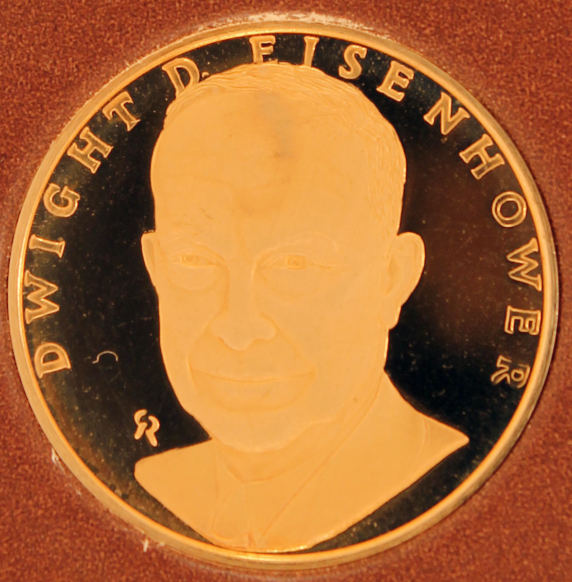 FRANKLIN MINT DWIGHT EISENHOWER LIMITED EDITION 500 GOLD PROOF COIN