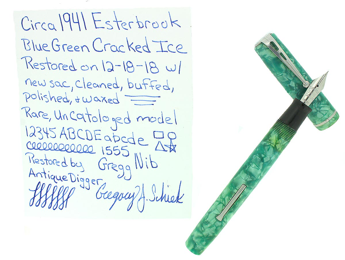 C1941 ESTERBROOK BLUE GREEN CRACKED ICE FOUNTAIN PEN NOT CATALOGED RESTORED OFFERED BY ANTIQUE DIGGER