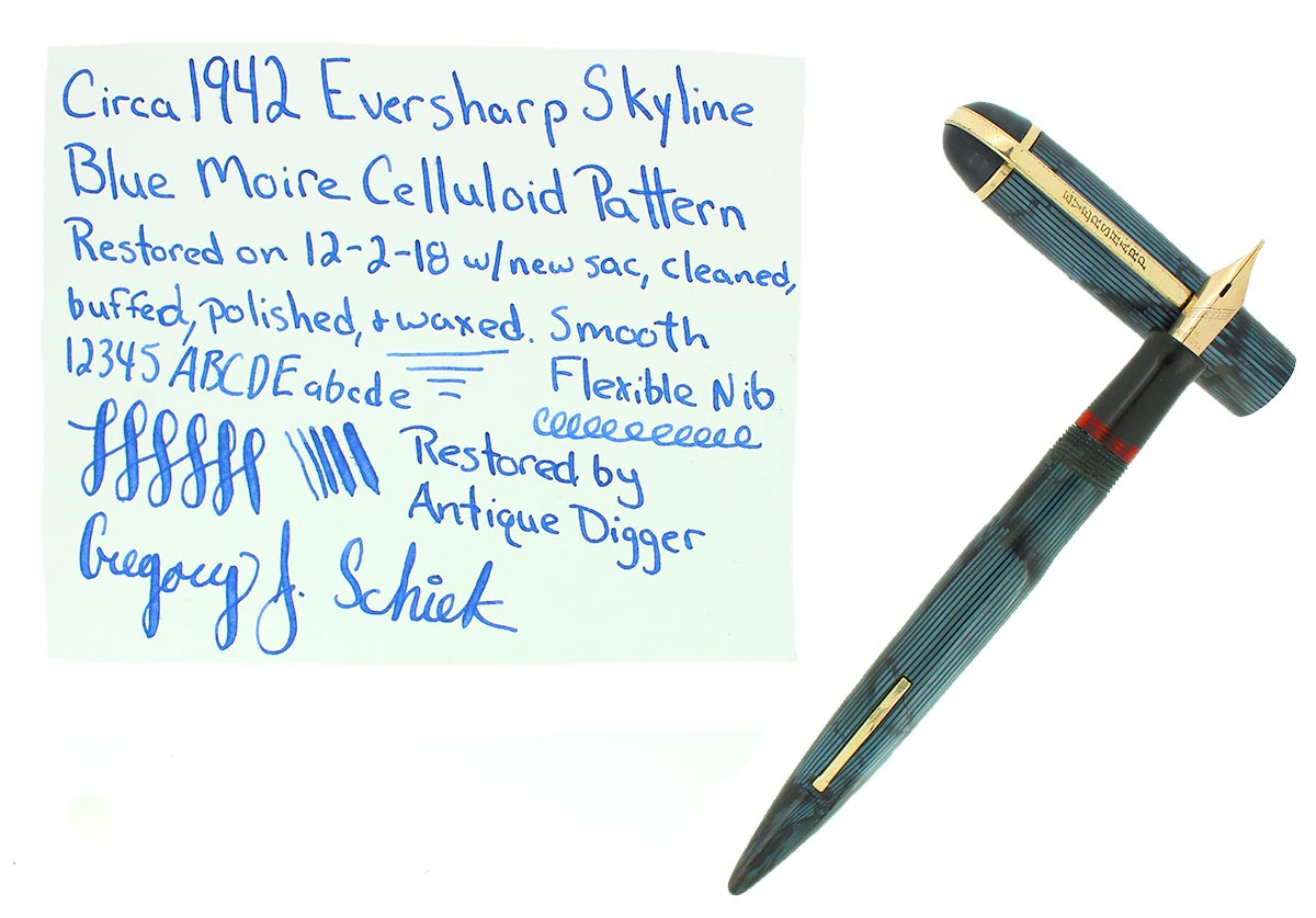 CIRCA 1942 EVERSHARP SKYLINE BLUE MOIRE FOUNTAIN PEN STANDARD SIZE RESTORED OFFERED BY ANTIQUE DIGGER