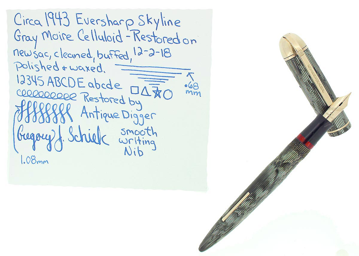 CIRCA 1943 EVERSHARP SKYLINE GRAY MOIRE CELLULOID FOUNTAIN PEN RESTORED OFFERED BY ANTIQUE DIGGER
