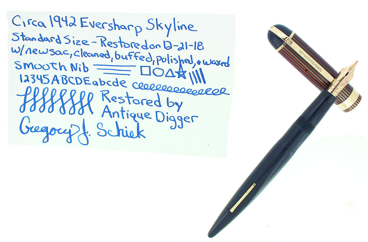 CIRCA 1942 EVERSHARP SKYLINE STANDARD SIZE FOUNTAIN PEN SMOOTH STUB NIB RESTORED OFFERED BY ANTIQUE DIGGER