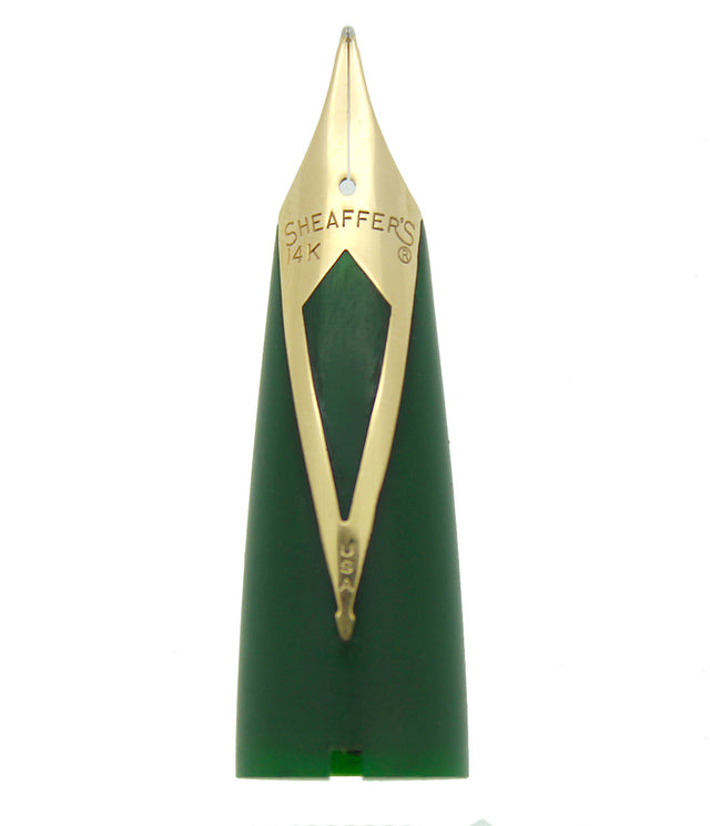 CIRCA 1959 SHEAFFER GREEN PFM III IV or V FOUNTAIN PEN 14K INLAY NIB UNIT OFFERED BY ANTIQUE DIGGER