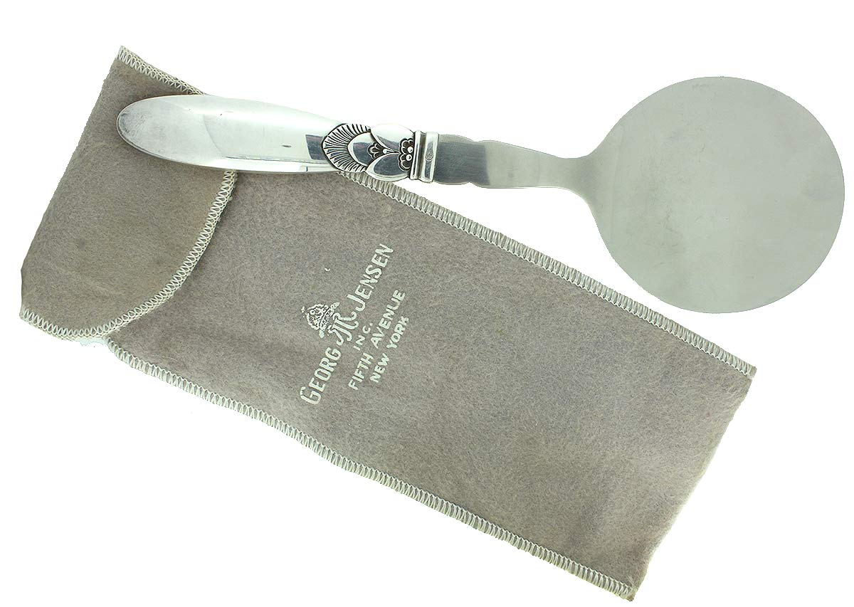 "VINTAGE GEORG JENSEN STERLING SILVER 8"" TOMATO SERVER with 5TH AVE NEW YORK BAG OFFERED BY ANTIQUE DIGGER"