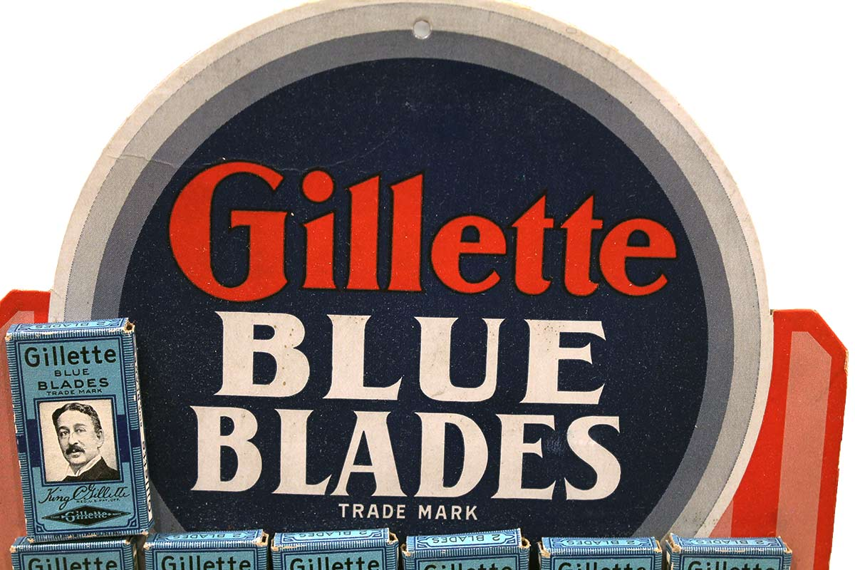 VINTAGE GILLETTE BLUE BLADES STORE DISPLAY UNUSED COMPLETE NEW OLD STOCK OFFERED BY ANTIQUE DIGGER