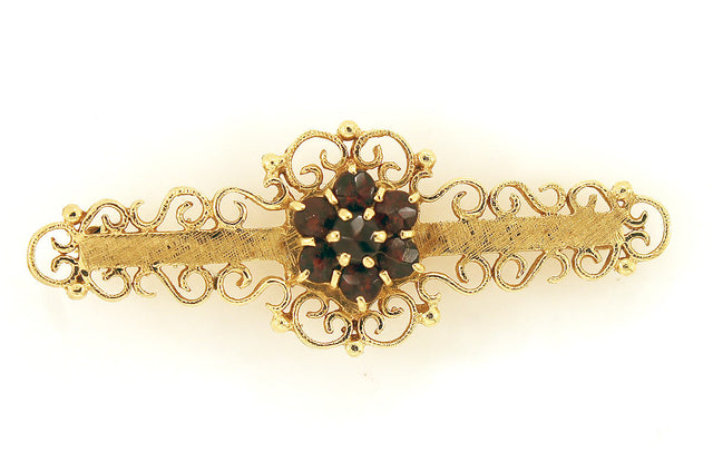 FINE ANTIQUE EDWARDIAN 14K & 1.12cts BOHEMIAN GARNET CLUSTER BAR PIN OFFERED BY ANTIQUE DIGGER