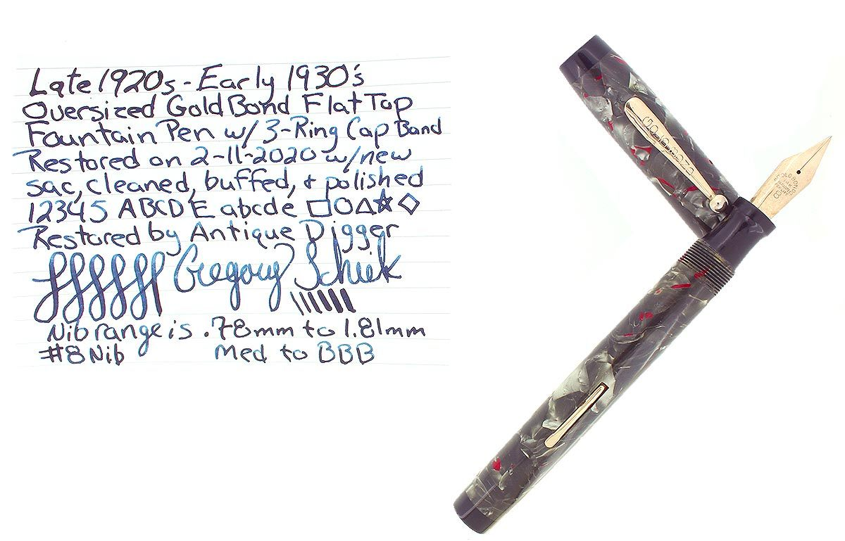 1930s GOLD BOND OVERSIZE FLAT TOP GREY PEARL FOUNTAIN PEN M-BBB 14K #8 FLEX NIB RESTORED OFFERED BY ANTIQUE DIGGER