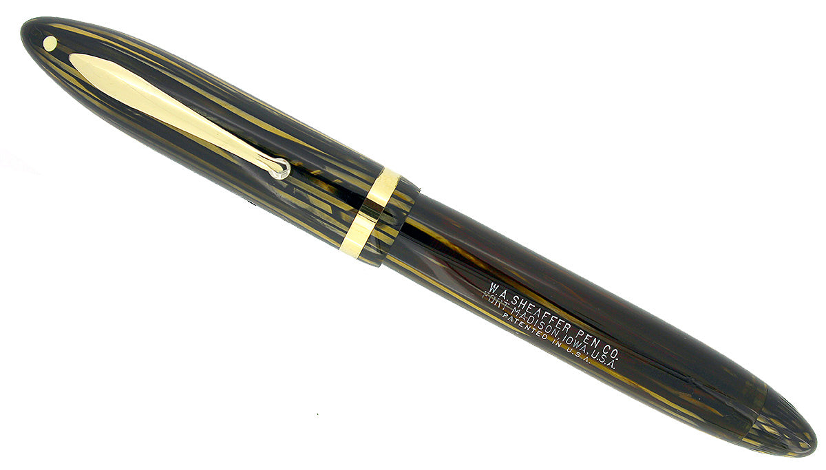1936 SHEAFFER OVERSIZE GOLDEN PEARL BALANCE FOUNTAIN PEN RESTORED CONDITION OFFERED BY ANTIQUE DIGGER