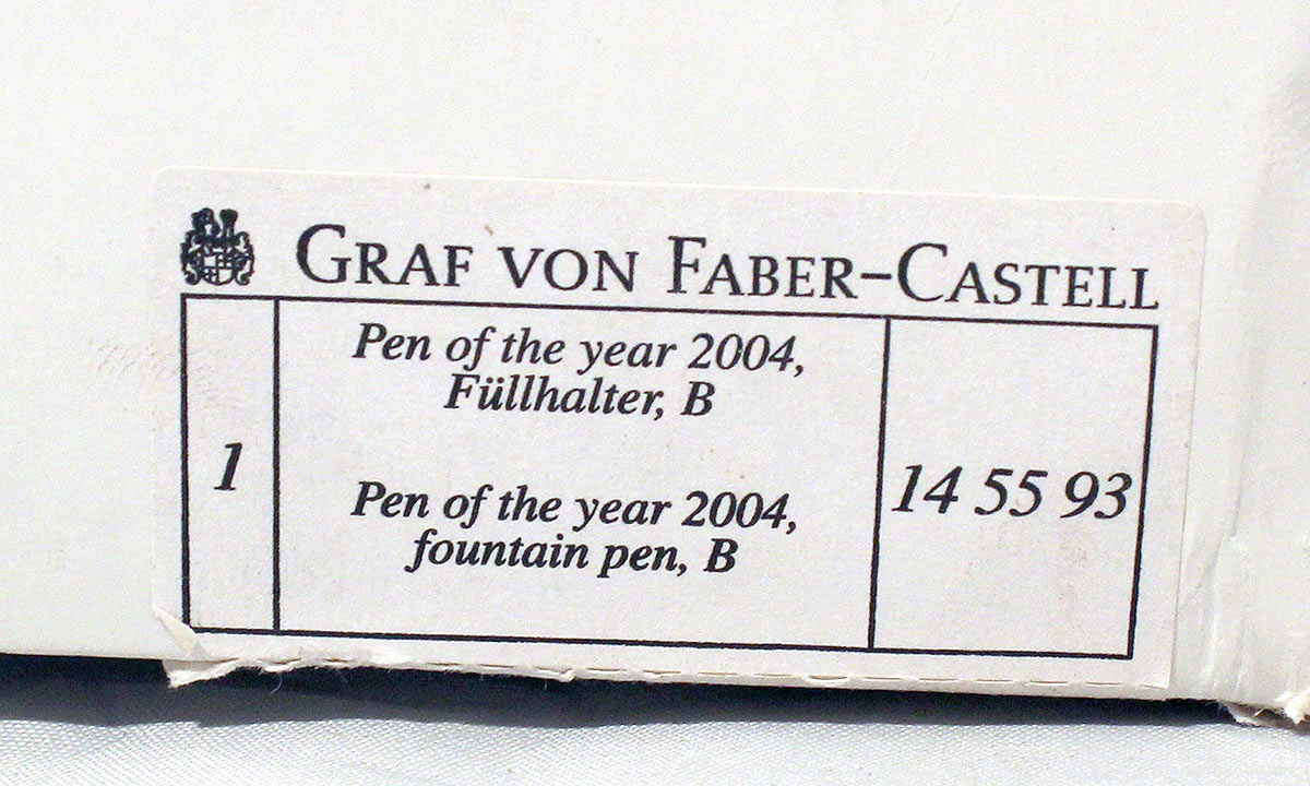 GRAF VON FABER-CASTELL 2004 PEN OF THE YEAR NEW IN BOX MINT CONDITION LIMITED EDITION #590