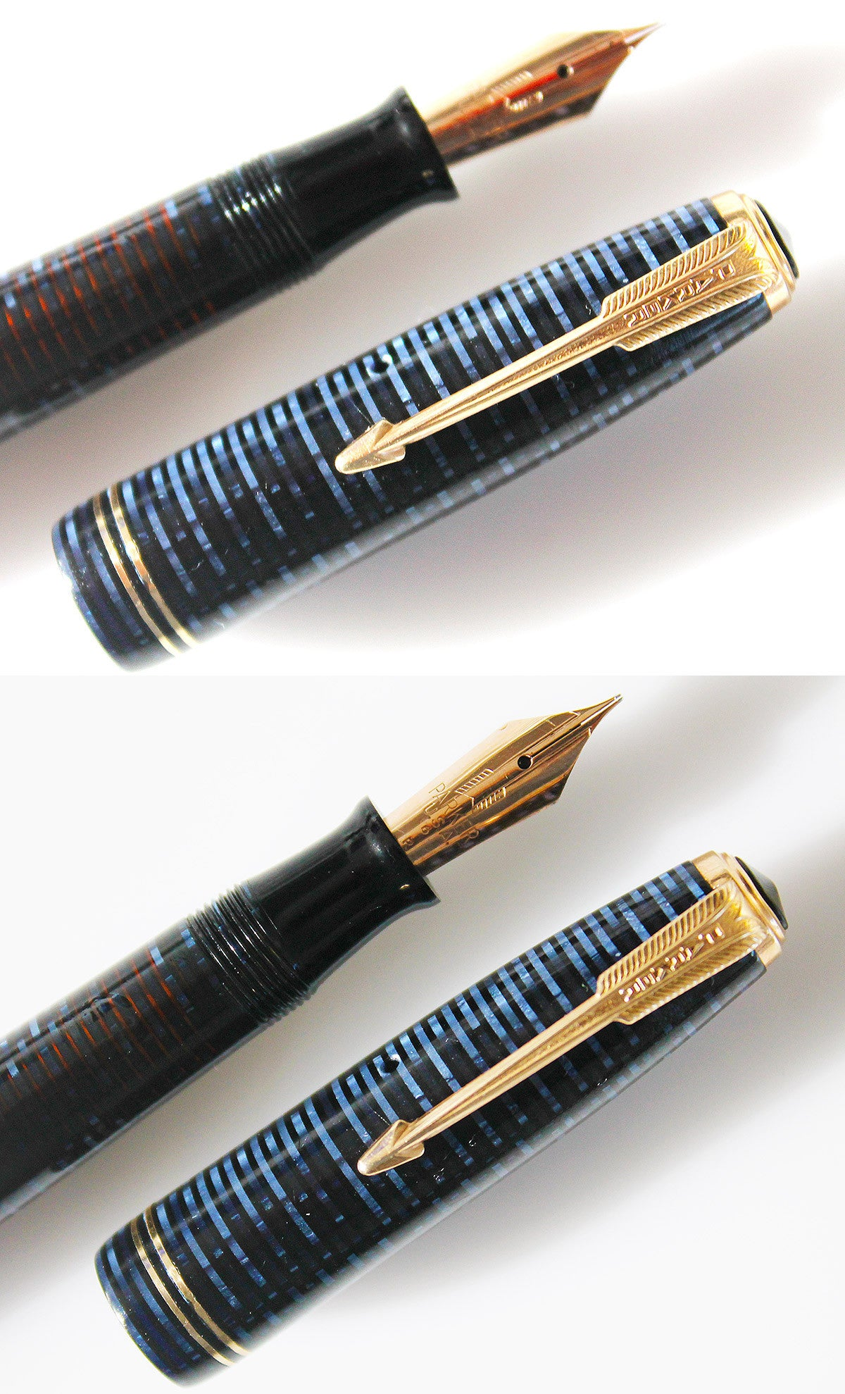 1946 PARKER AZURE CELLULOID VACUMATIC MAJOR FOUNTAIN PEN