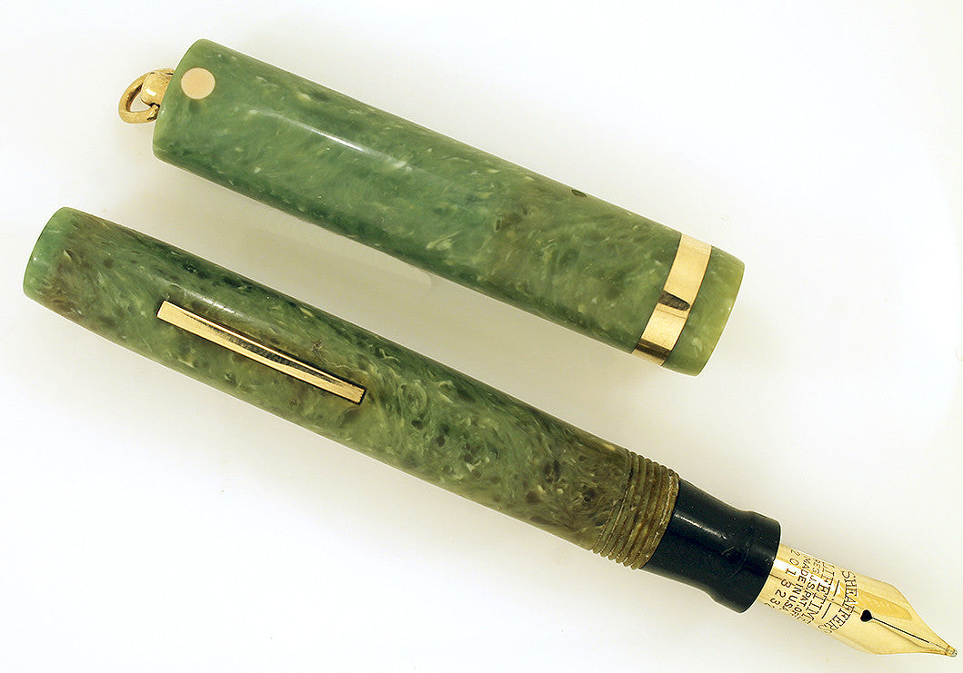 Restored 1920s SHEAFFER WHITE DOT JADE CELLULOID FOUNTAIN PEN RING TOP CAP WITH F to B NIB