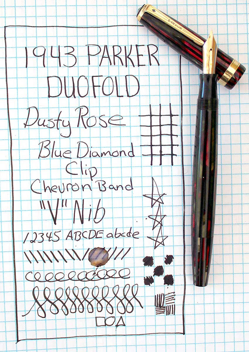 RESTORED 1943 PARKER STRIPED SENIOR DUOFOLD DUSTY ROSE CELLULOID FOUNTAIN PEN