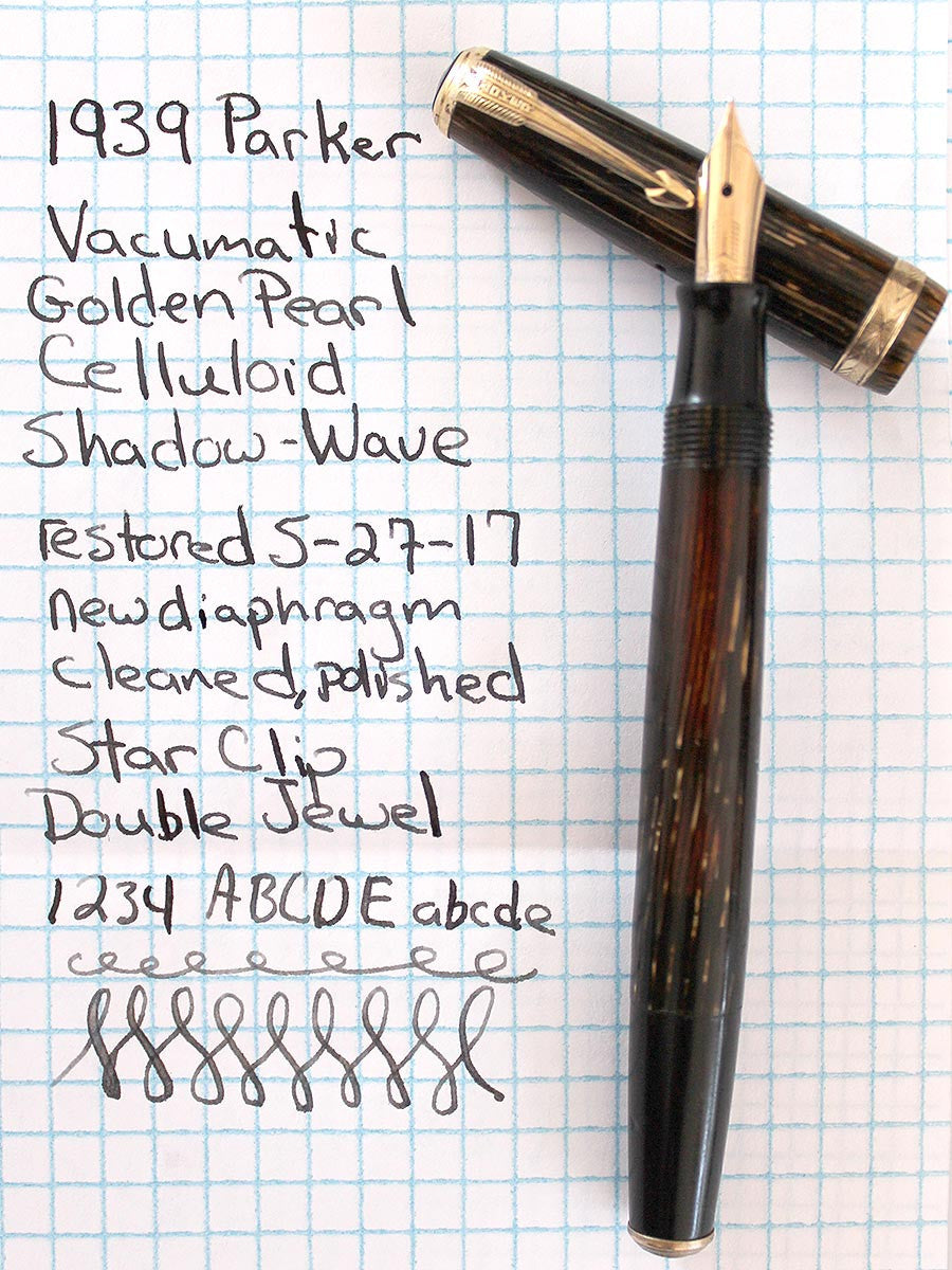 1938 PARKER BROWN DOUBLE JEWEL VACUMATIC SHADOW WAVE FOUNTAIN PEN RESTORED WITH HARD TO FIND STAR CLIP