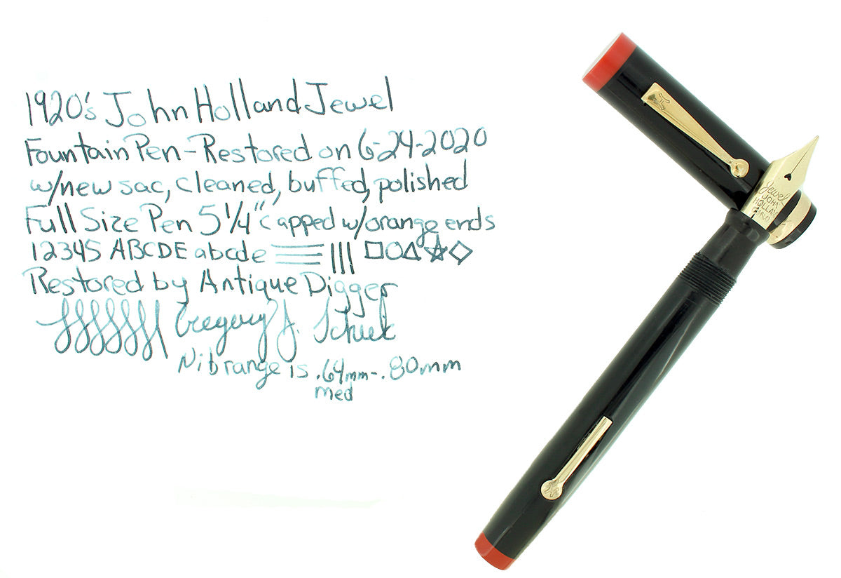 1920S JOHN HOLLAND JEWEL BLACK W/ORANGE ENDS STANDARD SIZE FOUNTAIN PEN RESTORED OFFERED BY ANTIQUE DIGGER
