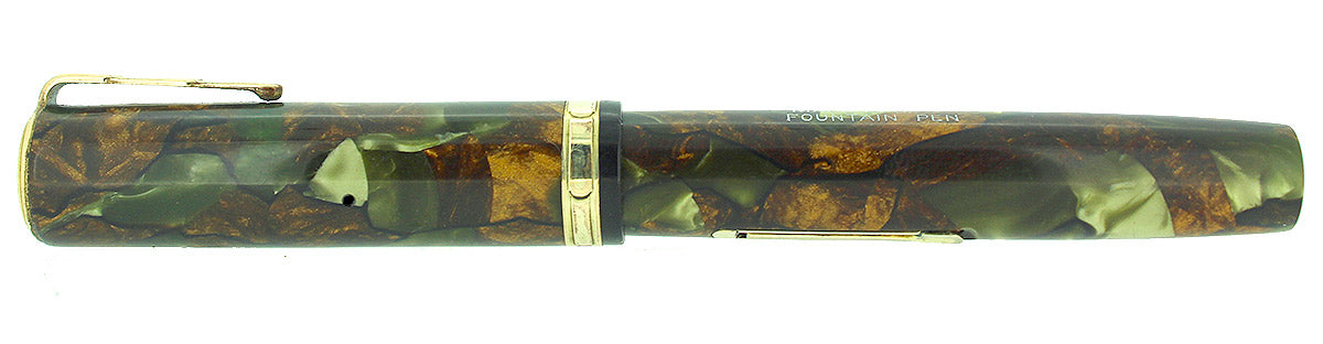 C1930 WATERMAN LADY PATRICIA MOSS AGATE FOUNTAIN PEN XF-BBB FLEX NIB RESTORED OFFERED BY ANTIQUE DIGGER