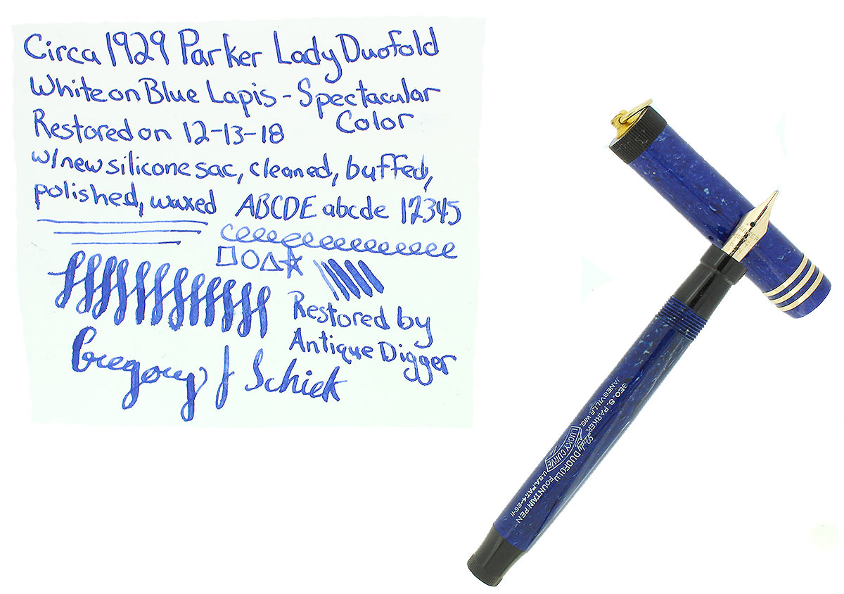 CIRCA 1929 PARKER DUOFOLD LAPIS WHITE ON BLUE FOUNTAIN PEN LUCKY CURVE NEAR MINT OFFERED BY ANTIQUE DIGGER