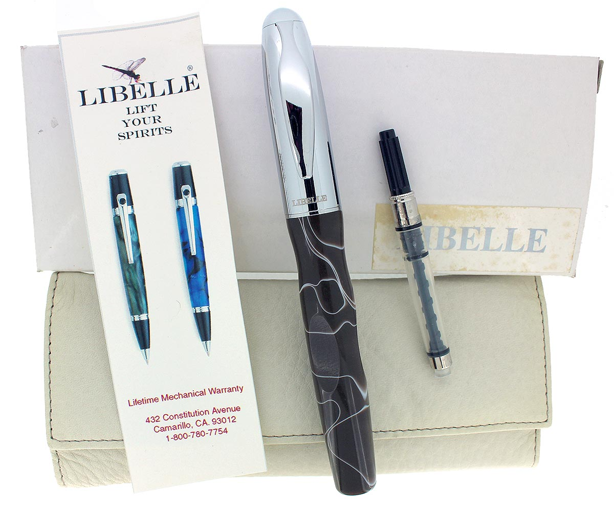 CIRCA 2007 LIBELLE VORTEX MOCHA SWIRL ACRYLIC FOUNTAIN PEN MED NIB NEW OLD STOCK IN BOX OFFERED BY ANTIQUE DIGGER