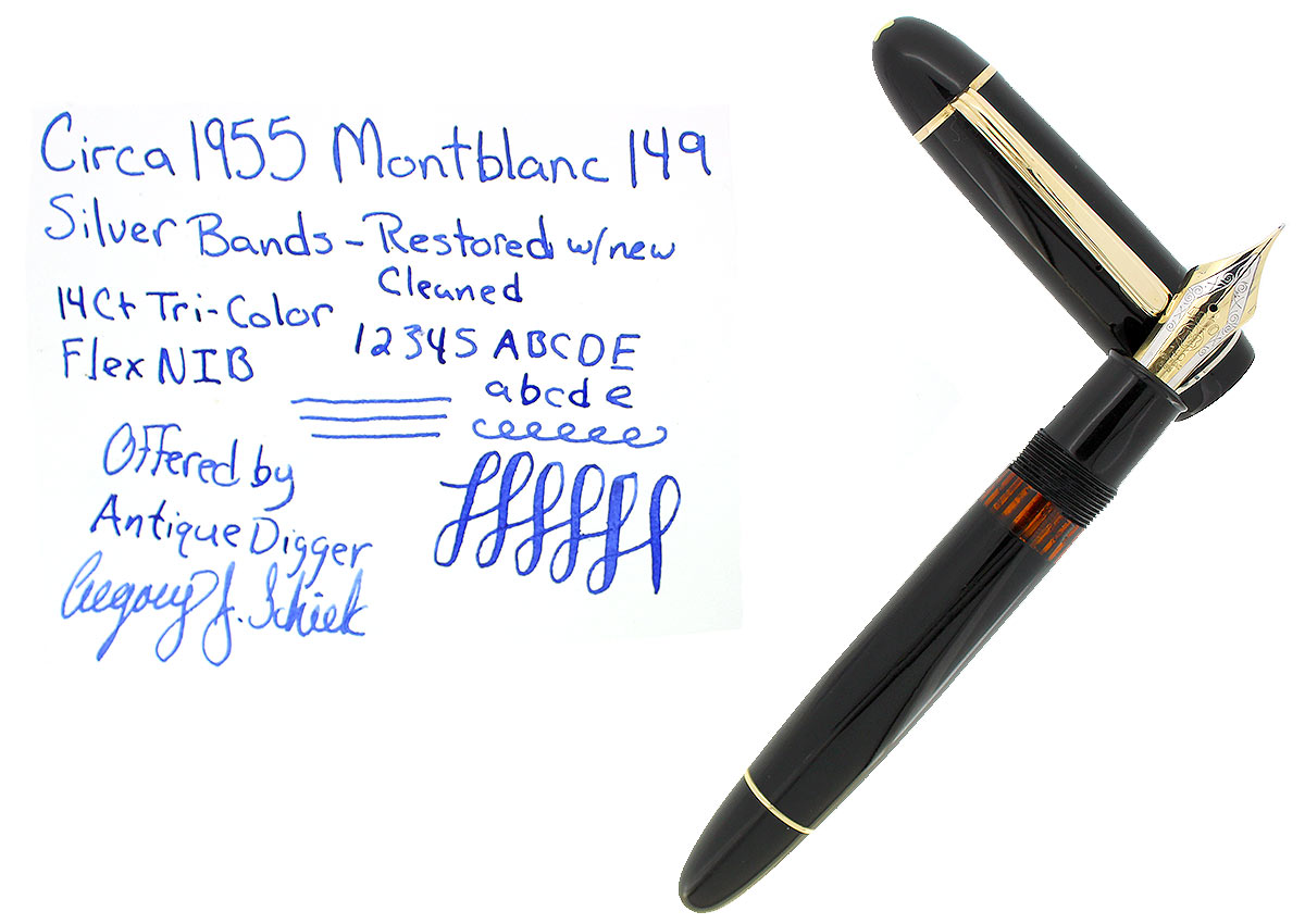 CIRCA 1955 MONTBLANC 149 FOUNTAIN PEN SILVER RING CAP BANDING M-BB NIB RESTORED OFFERED BY ANTIQUE DIGGER