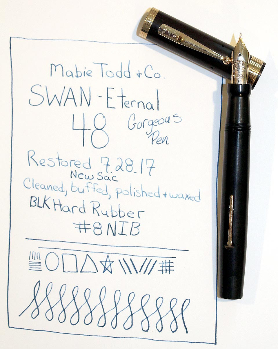 1920s MABIE TODD SWAN ETERNAL #48 BHR FOUNTAIN PEN GOLD FILLED TRIM RESTORED OFFERED BY ANTIQUE DIGGER