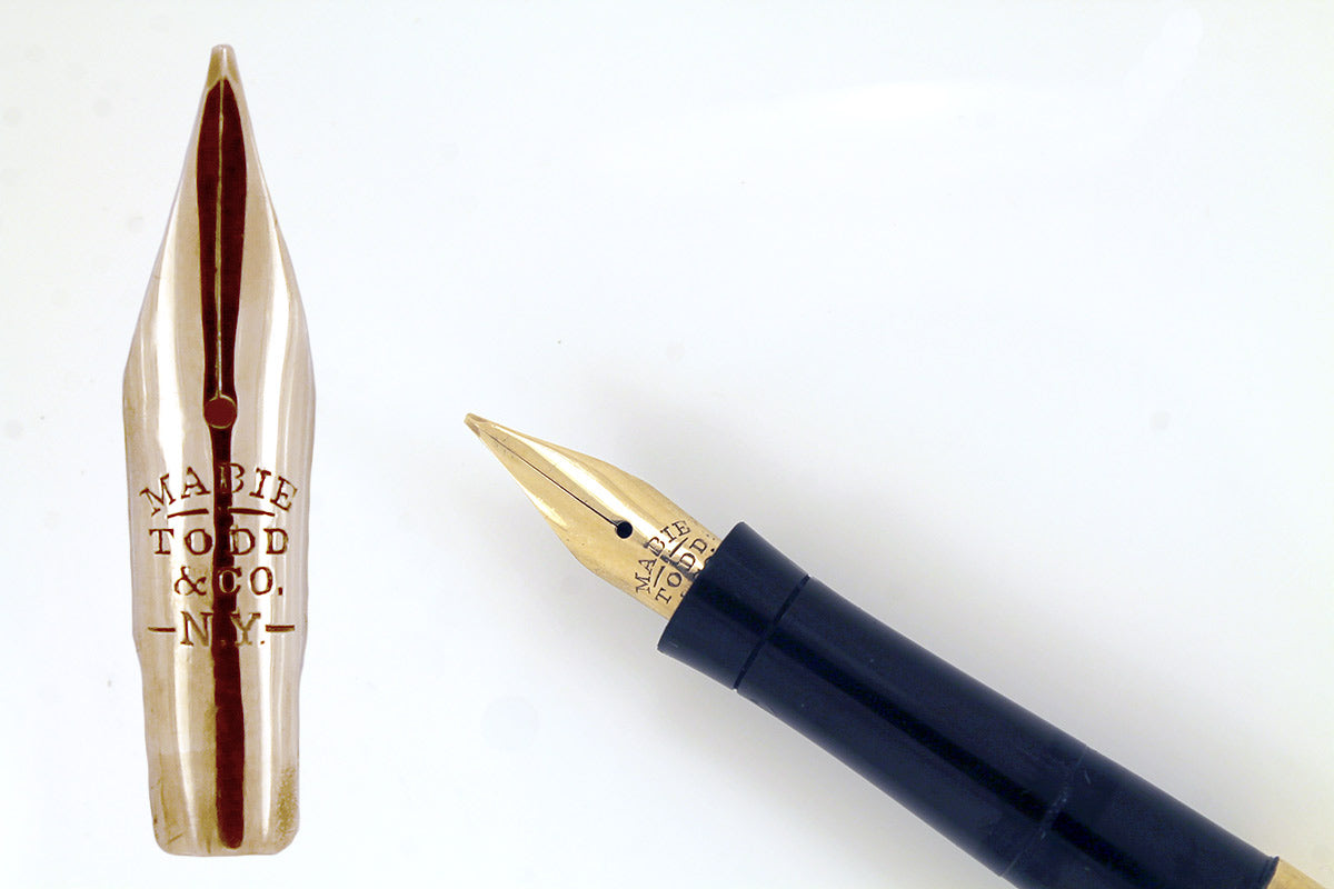 CIRCA 1915 MABIE TODD SWAN FANCY GOLD OVERLAY EYEDROPPER FOUNTAIN PEN WITH F - BBB FLEXIBLE NIB