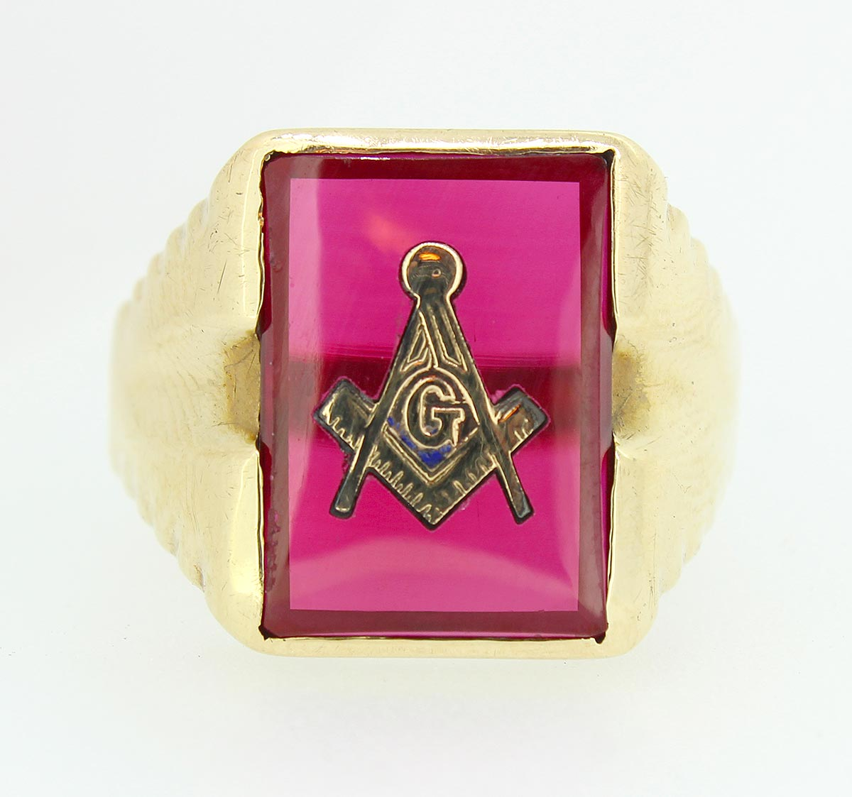 VINTAGE ESTATE MEN'S 10K SOLID GOLD MASONIC RUBY RING SIZE 13 1/2 OFFERED BY ANTIQUE DIGGER