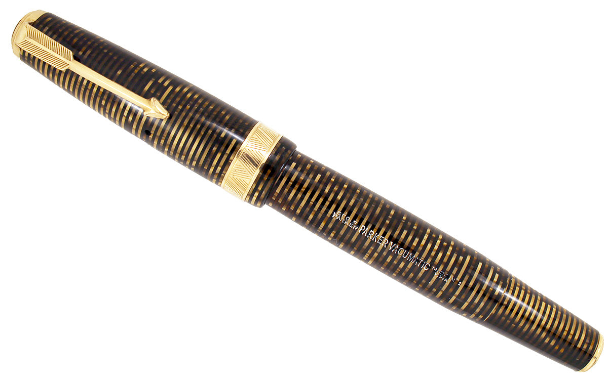 1941 PARKER GOLDEN PEARL SENIOR MAXIMA VACUMATIC WITH F to BBB+ 2.81MM FLEXIBLE NIB IN RESTORED CONDITION OFFERED BY ANTIQUE DIGGER