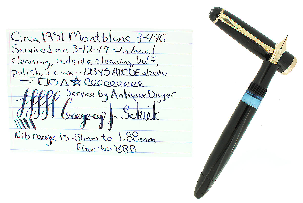 CIRCA 1951 MONTBLANC 3-44G FOUNTAIN PEN 14C FLEXIBLE NIB F-BBB RESTORED OFFERED BY ANTIQUE DIGGER