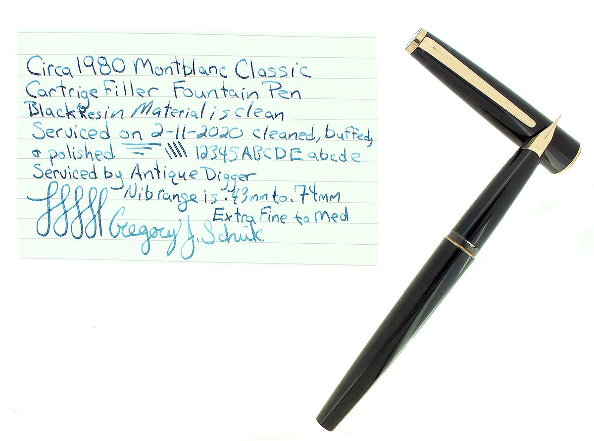 CIRCA 1980 MONTBLANC CLASSIC FOUNTAIN PEN 14C EXTRA FINE NIB RESTORED OFFERED BY ANTIQUE DIGGER