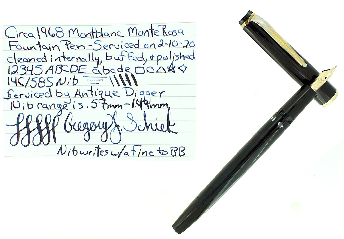 C1968 MONTBLANC MONTE ROSA HEXAGONAL FOUNTAIN PEN 14C F-BB NIB RESTORED OFFERED BY ANTIQUE DIGGER