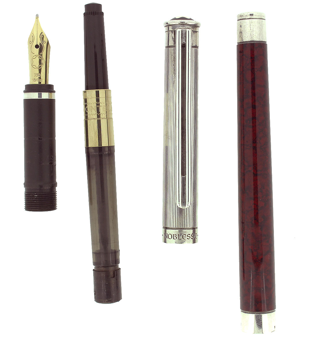 CIRCA 1990 MONTBLANC NOBLESSE TYPE IV RED MARBLED LACQUER 18K NIB FOUNTAIN PEN OFFERED BY ANTIQUE DIGGER