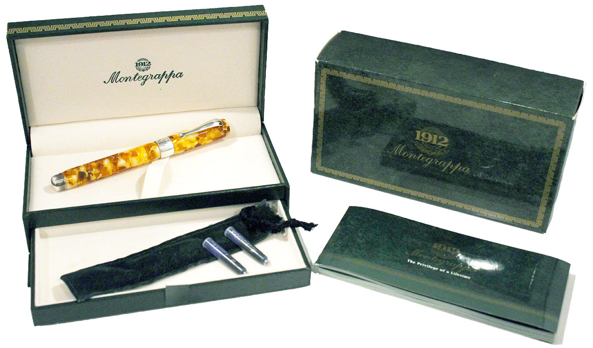 MONTEGRAPPA HARMONY BASSANO PARCHMENT STERLING TRIM FOUNTAIN PEN NEW IN BOX OFFERED BY ANTIQUE DIGGER