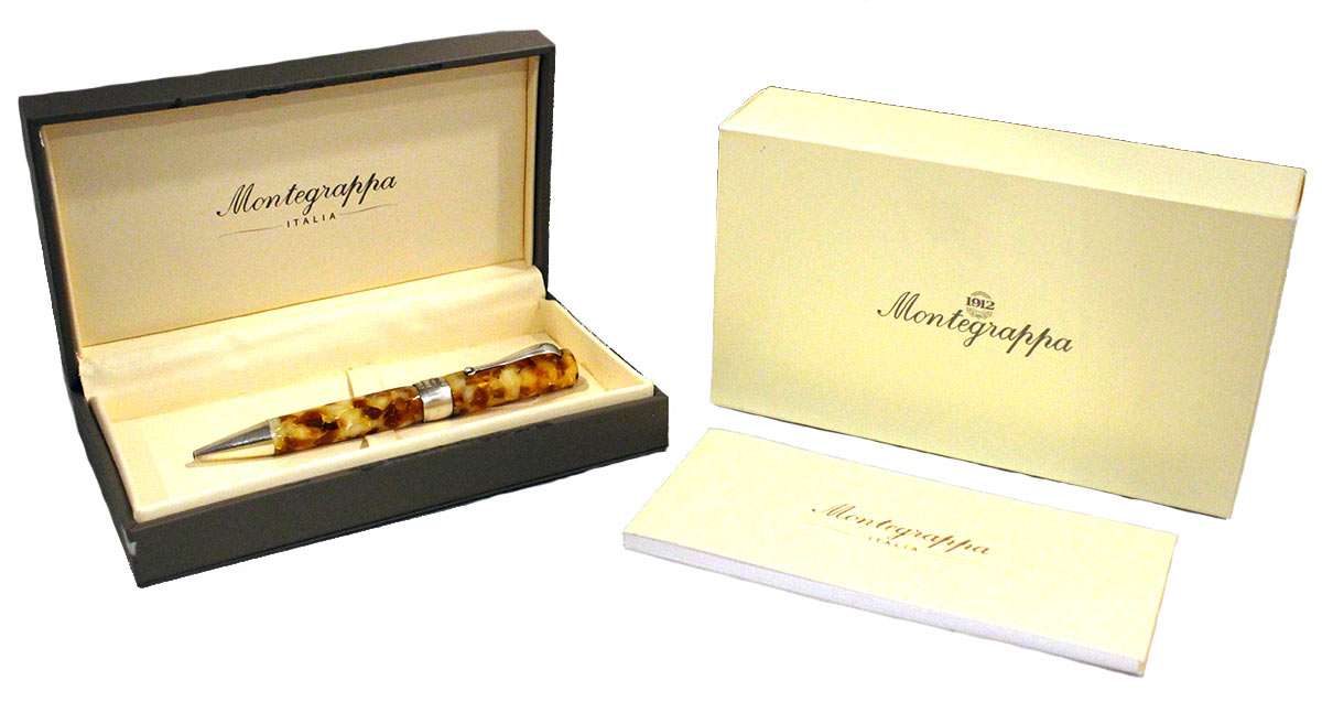 MONTEGRAPPA HARMONY BASSANO PARCHMENT STERLING TRIM ROLLERBALL PEN OFFERED BY ANTIQUE DIGGER