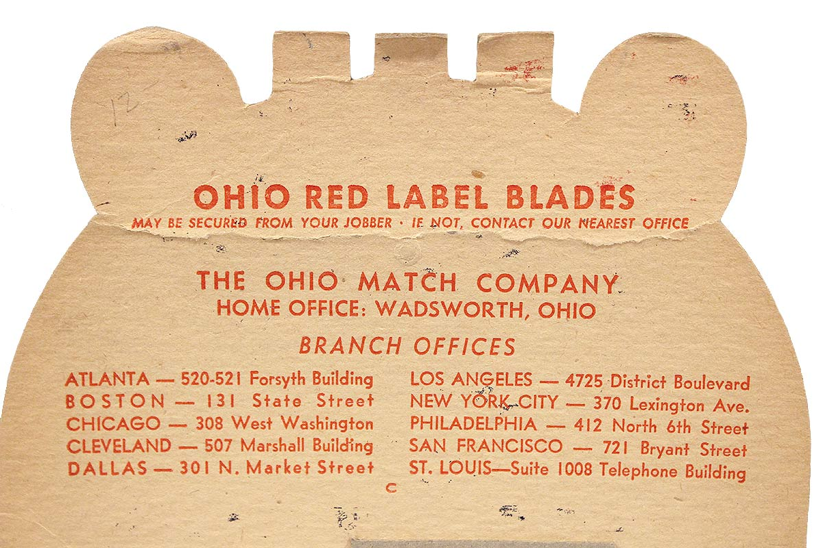 1930s OHIO RED LABEL RAZOR BLADE STORE COUNTERTOP ADVERTISING DISPLAY NOS RARE OFFERED BY ANTIQUE DIGGER