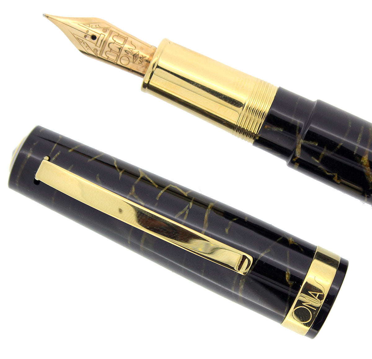 OMAS BOLOGNA CELLULOID BLACK AND GOLD FOUNTAIN PEN MINT IN BOX 14K NIB NOS OFFERED BY ANTIQUE DIGGER