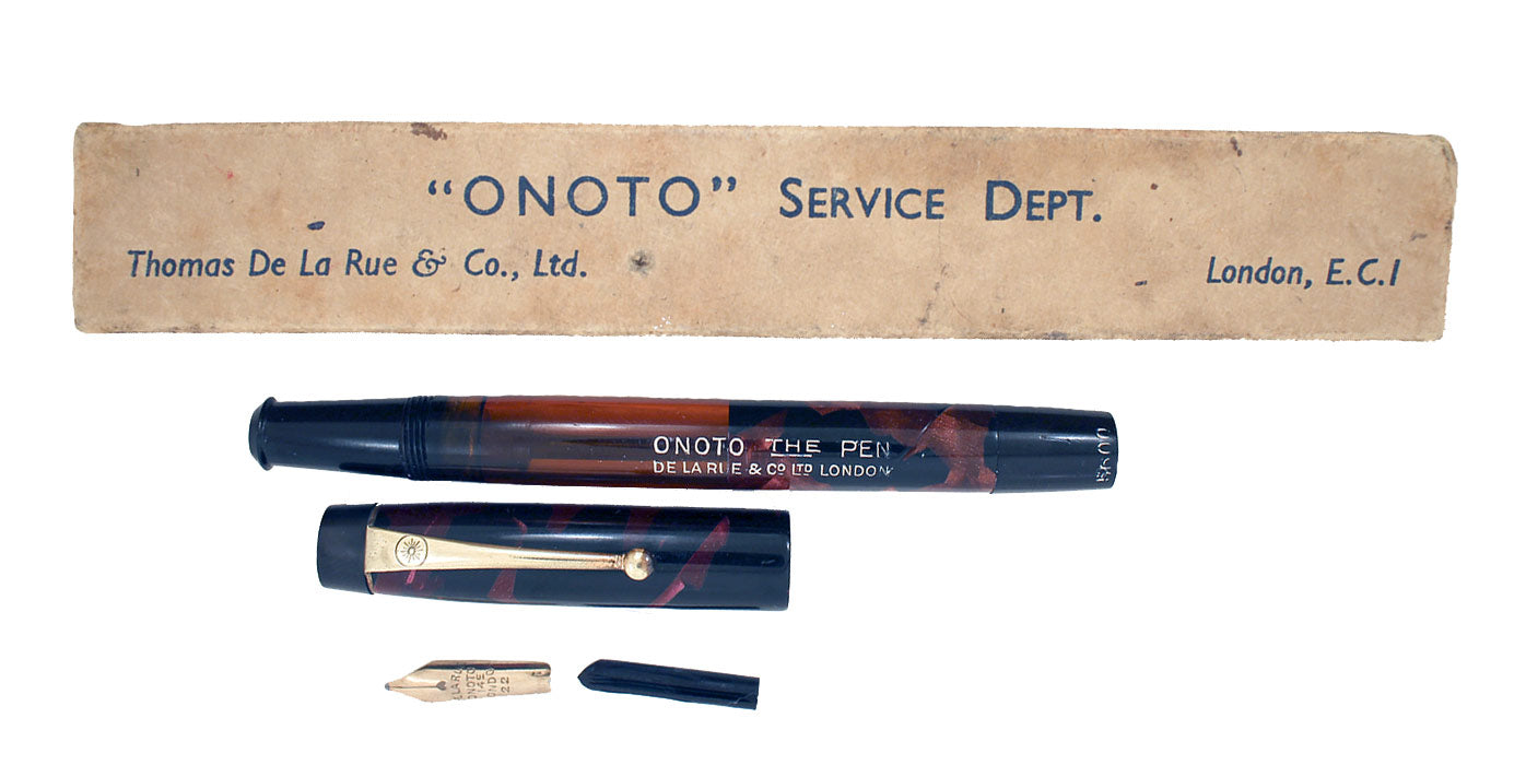 RESTORED 1938 ONOTO DE LA RUE RED MARBLED FOUNTAIN PEN PLUNGER FILLING UNIT WITH ORIGINAL BOX
